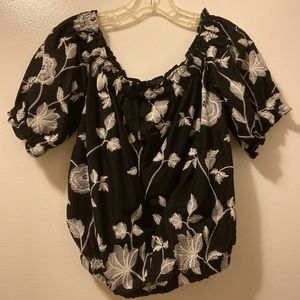 who what wear floral off the shoulder blouse